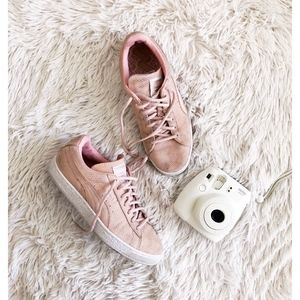 PUMA blush pink suede sneakers